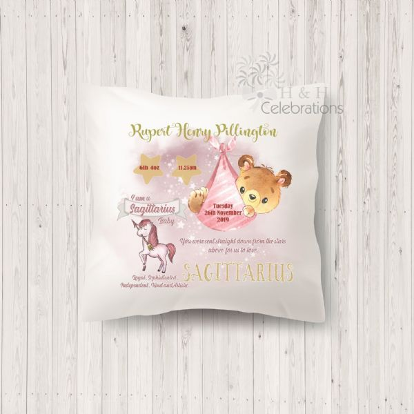 Sagittarius - Baby Star Sign Keepsake Cushion